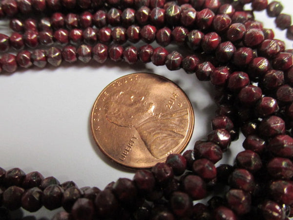 Opaque Red Bronze Picasso 3mm Czech Glass English Cut Jewelry Beads - Odyssey Cache