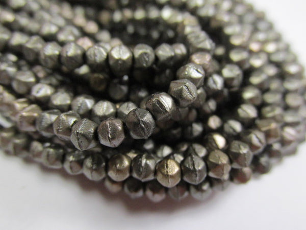 Gray Matte Metallic Leather 3mm Czech Glass English Cut Jewelry Beads - Odyssey Cache