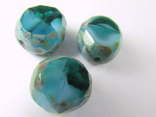 Capri Blue Picasso Czech 12mm Table Cut Faceted Sliced Rounds-Jewelry Beads-Odyssey Cache