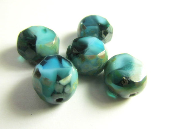 Capri Blue Picasso Czech 12mm Faceted Sliced Rounds-Jewelry Beads-5 beads-Odyssey Cache