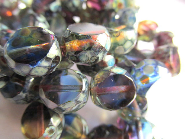 Multicolor Blue Green Purple Gold Czech Faceted Sliced Rounds - Odyssey Cache