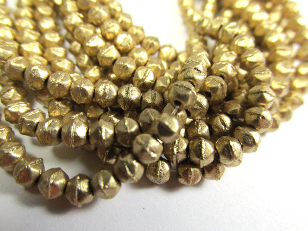 Gold Matte Metallic Flax 3mm Czech Glass English Cut Jewelry Beads-Jewelry Beads-Odyssey Cache