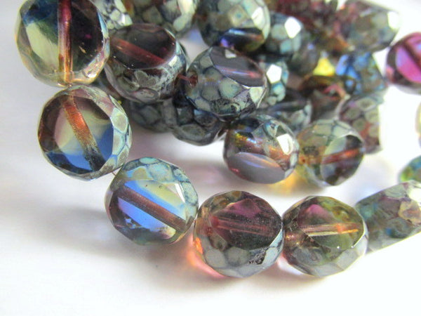 Multicolor Blue Green Purple Gold Czech Faceted Sliced Rounds (5 beads) - Odyssey Cache