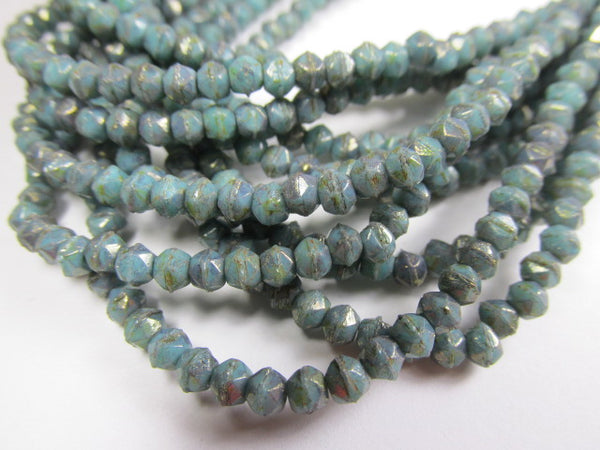 Turquoise Bronze Picasso 3mm Czech Glass English Cut Jewelry Beads - Odyssey Cache
