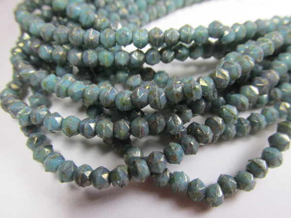 Turquoise Bronze Picasso 3mm Czech Glass English Cut Jewelry Beads-Jewelry Beads-Odyssey Cache