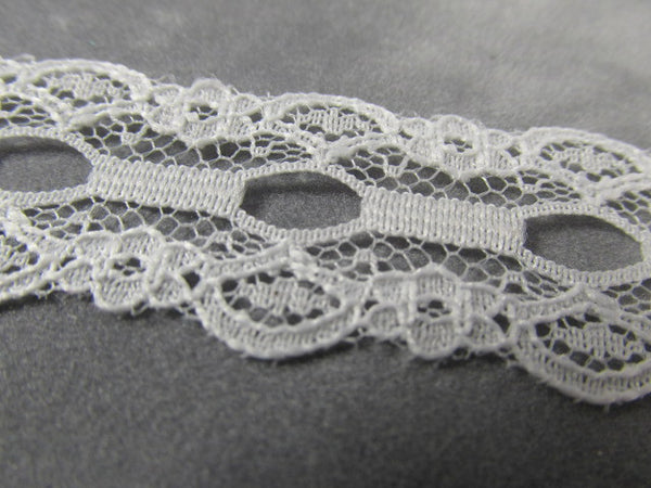 Off White 7/8 inch Lace Trim with Ribbon Insert-Trims-Odyssey Cache