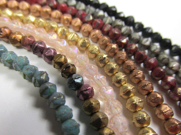 Rosaline Luster Iris 3mm Czech Glass English Cut Jewelry Beads-Jewelry Beads-Odyssey Cache