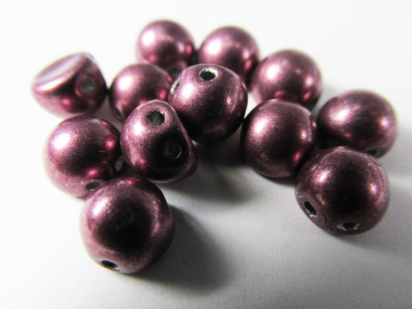 Saturated Metallic Dusty Cedar Czech Glass 7mm Two Hole Cabochons (12)-Jewelry Beads-Odyssey Cache