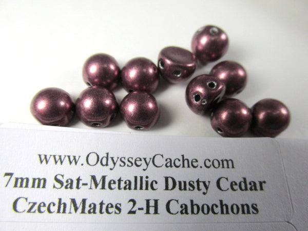 Saturated Metallic Dusty Cedar Czech Glass 7mm Two Hole Cabochons  (12) - Odyssey Cache