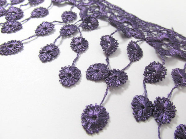 Purple 3.5 inch Fringed Venise Lace Trim-Trims-Odyssey Cache