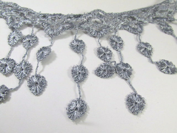 Gray 3.5 inch Fringed Venise Lace Trim-Trims-Odyssey Cache