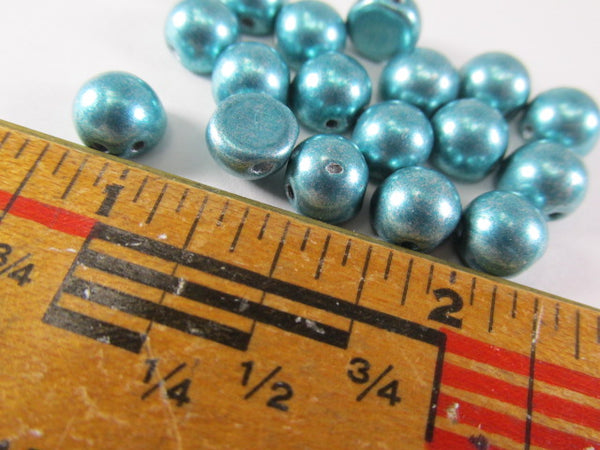 Metallic Island Paradise Turquoise Czech Glass 7mm Two Hole Cabochons (12) - Odyssey Cache