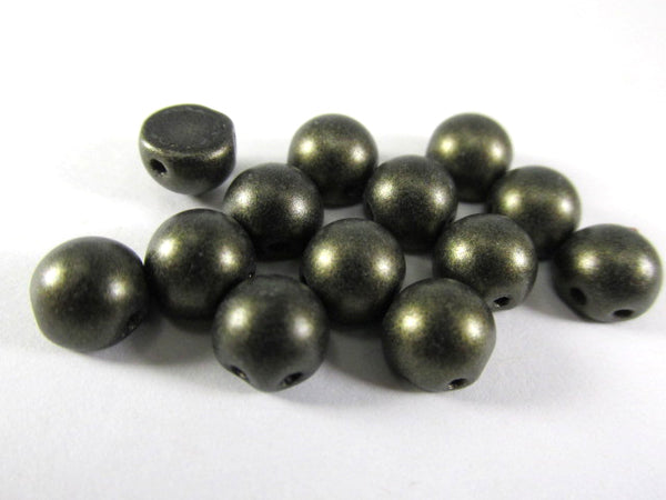 Metallic Suede Dark Green Czech Glass 7mm Two Hole Cabochons (12)-Jewelry Beads-Odyssey Cache