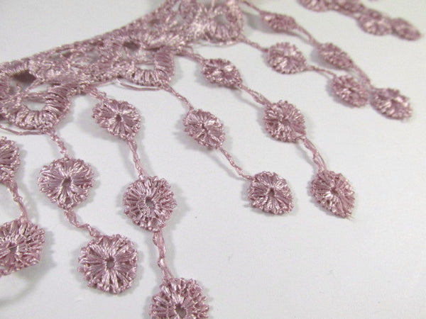 Dusty Rose Mauve 3.5 inch Fringed Venise Lace Trim - Odyssey Cache