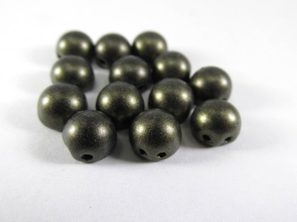 Metallic Suede Dark Green Czech Glass 7mm Two Hole Cabochons (12) - Odyssey Cache