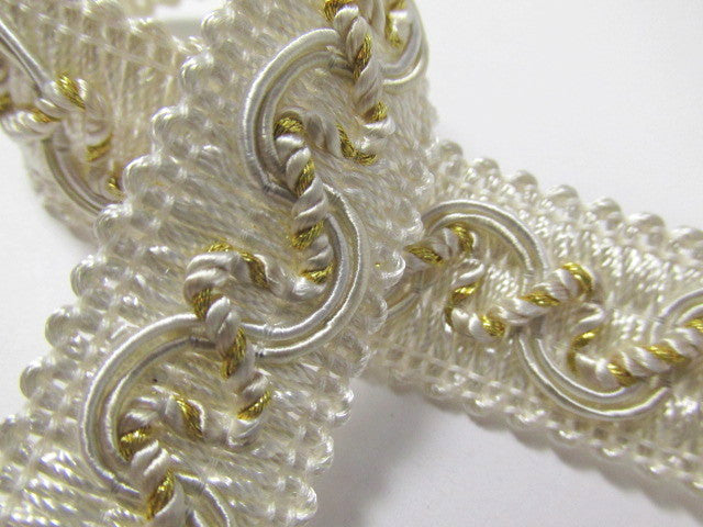 Ivory, Beige and Gold 20mm Decorator Gimp Trim - Odyssey Cache