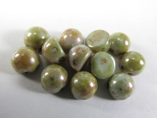 Ultra Luster Opaque Green Czech Glass 7mm Two Hole Cabochons (12) - Odyssey Cache