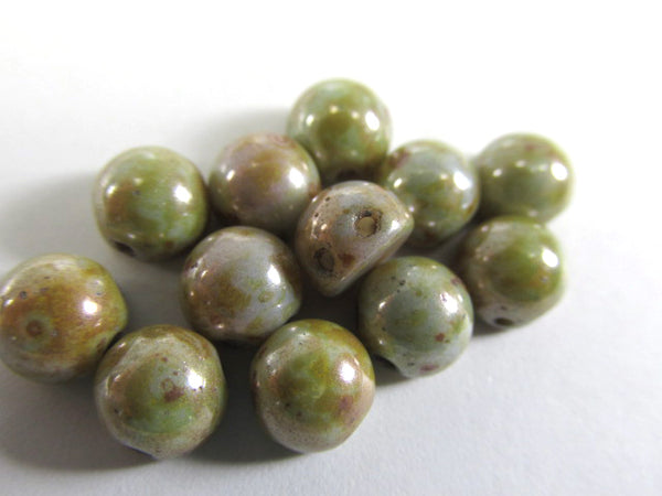 Ultra Luster Opaque Green Czech Glass 7mm Two Hole Cabochons (12)-Jewelry Beads-Odyssey Cache