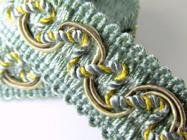 Seafoam Green, Taupe and Gold 20mm Decorator Gimp Trim - Odyssey Cache