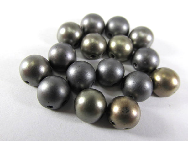 Matte Metallic Leather Gray Mix Czech Glass 7mm Two Hole Cabochons (12)-Jewelry Beads-Odyssey Cache