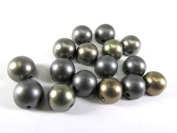 Matte Metallic Leather Gray Mix Czech Glass 7mm Two Hole Cabochons (12) - Odyssey Cache