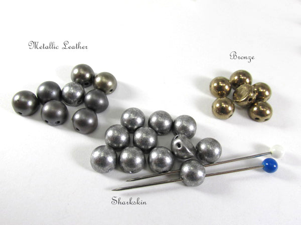 Saturated Metallic Sharkskin Gray Czech Glass 7mm Two Hole Cabochons (12)-Jewelry Beads-Odyssey Cache