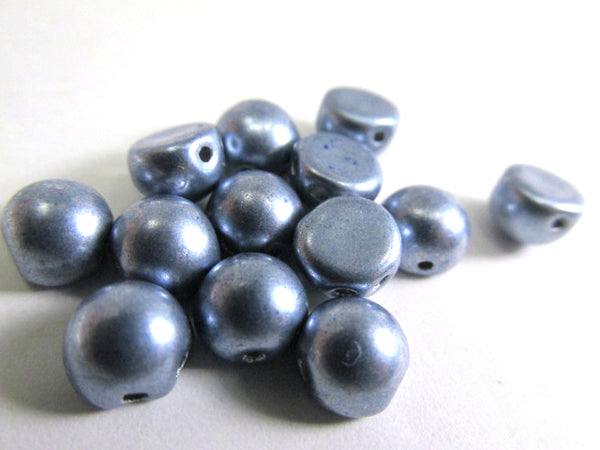 Saturated Metallic Airy Blue Czech Glass 7mm Two Hole Cabochons (12)-Jewelry Beads-Odyssey Cache