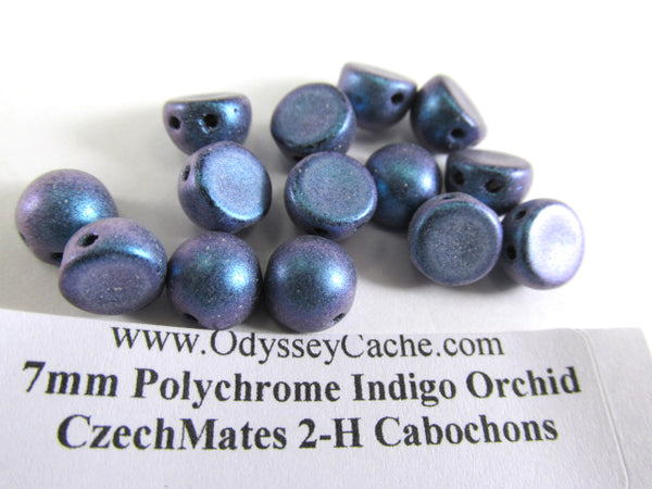 Indigo Orchid Blue Teal Czech Glass 7mm Two Hole Cabochons (12) - Odyssey Cache