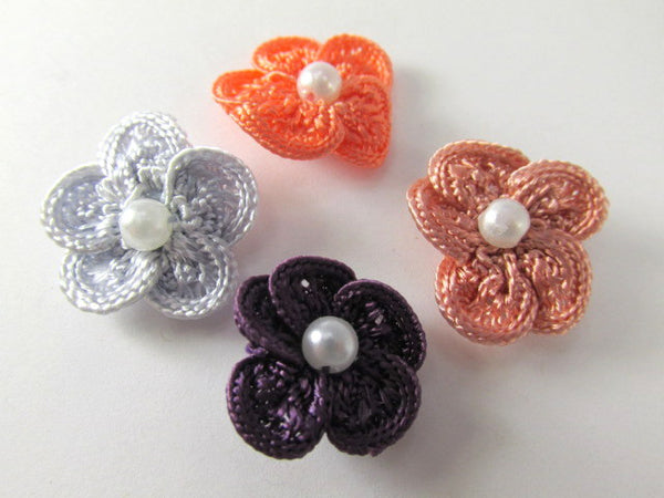 Crochet Flower Appliques with White Pearl Centers (3) in Purple, Mauve or Coral-Appliques-Odyssey Cache