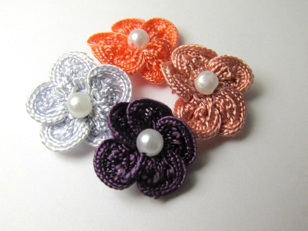 Crochet Flower Appliques with White Pearl Centers (3) in Purple, Mauve, Coral or Light Gray - Odyssey Cache