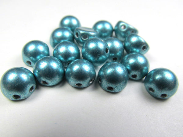Metallic Island Paradise Turquoise Czech Glass 7mm Two Hole Cabochons (12)-Jewelry Beads-Odyssey Cache