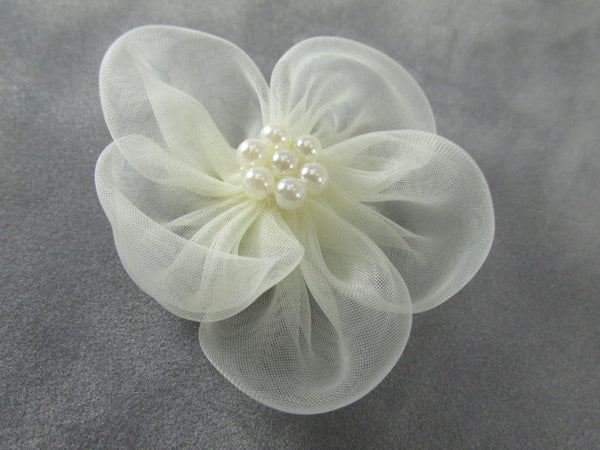 White or Ivory 2 Inch Organza and Pearl Flower Appliques (1)-Appliques-Ivory-Odyssey Cache
