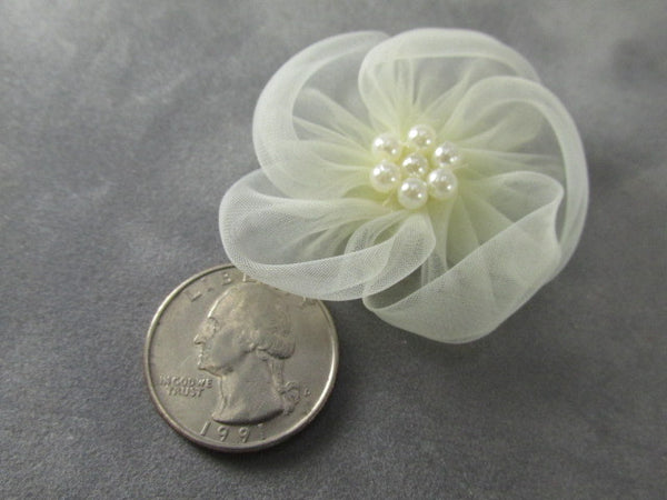 White or Ivory 2 Inch Organza and Pearl Flower Appliques (1) - Odyssey Cache