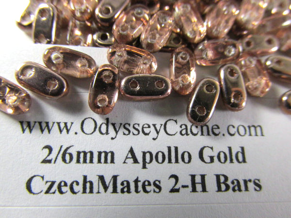 Apollo Gold Rose Gold Colored Czech Glass 2x6mm Two Hole Bars (45 beads) - Odyssey Cache