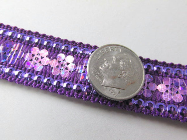 Purple Viola Starlight Flowered 15mm Sequined Trim - Odyssey Cache