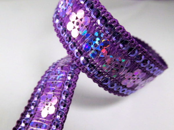 Purple Viola Starlight Flowered 15mm Sequined Trim-Trims-Odyssey Cache