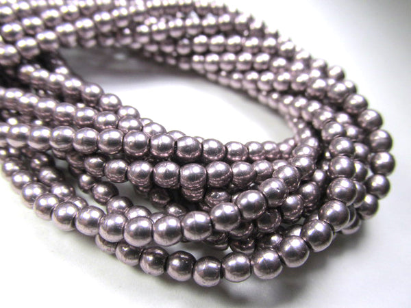 Saturated Metallic Almost Mauve Czech Glass 3mm Round Druk Beads - strand of 100-Jewelry Beads-Odyssey Cache