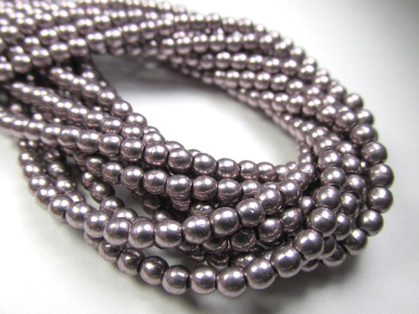 Saturated Metallic Almost Mauve Czech Glass 3mm Round Druk Beads - strand of 100 - Odyssey Cache