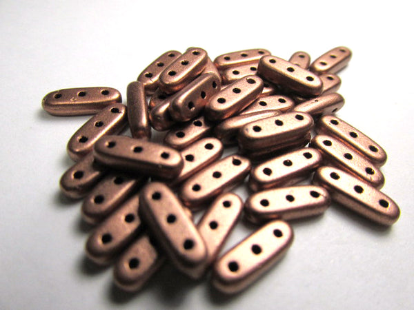 Matte Metallic Copper Czech Glass 10x3mm Three Hole CzechMates Beams (42 beads) - Odyssey Cache