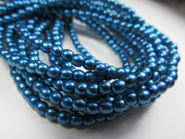Saturated Metallic Shaded Spruce Teal Czech Glass 3mm Round Druk Beads - strand of 100-Jewelry Beads-Odyssey Cache