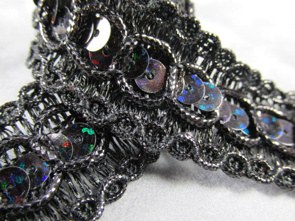 Holographic 7/8 inch wide Circle Style Sequined Trim in Turquoise, Blue, Purple, Fuchsia & Gold-Trims-Black-Odyssey Cache
