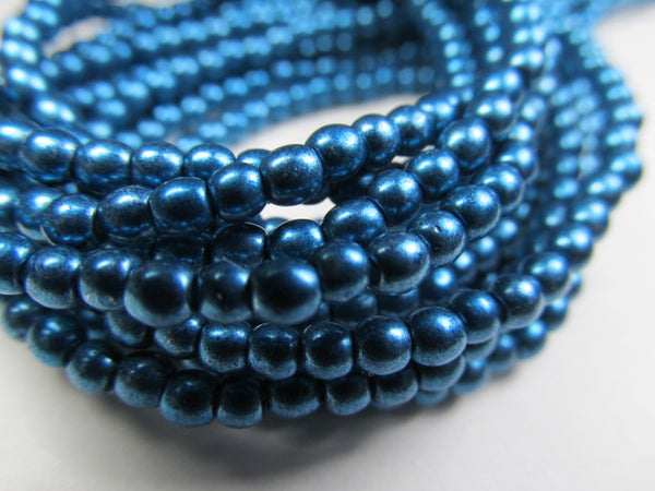Saturated Metallic Shaded Spruce Teal Czech Glass 3mm Round Druk Beads - strand of 100 - Odyssey Cache
