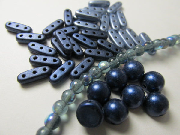 Metallic Suede Dark Blue Czech Glass 10x3mm Three Hole CzechMates Beams (42)-Jewelry Beads-Odyssey Cache