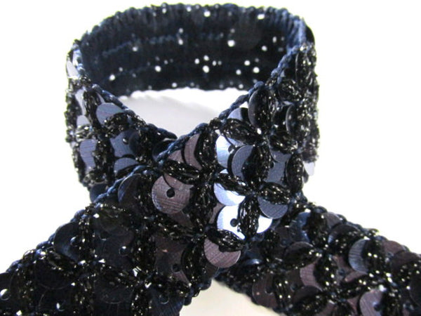 Crisscross 20mm Sequined Trim in Navy Blue, Turquoise or Chocolate Brown-Trims-Navy Blue-Odyssey Cache