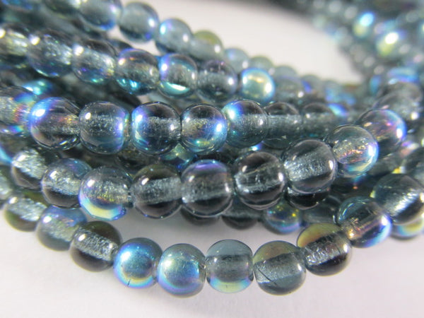 Montana Blue AB 4mm Czech Glass Round Druk Jewelry Beads (strand of 100)-Jewelry Beads-Odyssey Cache