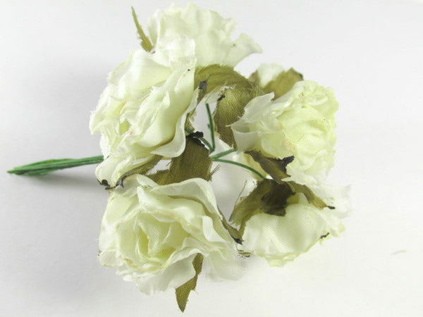 Ivory Cabbage Roses Millinery Bridal Craft Flowers (6) - Odyssey Cache