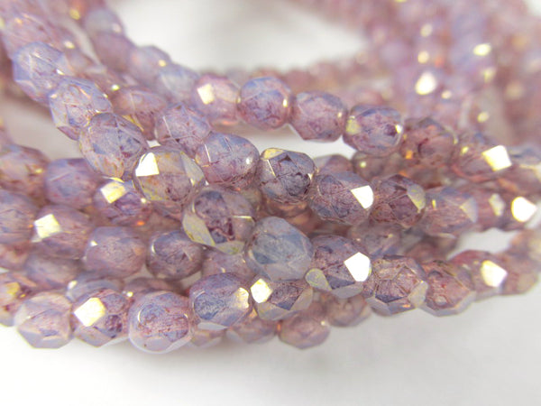 Light Purple Opalite 4mm Fire Polished Czech Glass Jewelry Beads (50 beads)-Jewelry Beads-Odyssey Cache