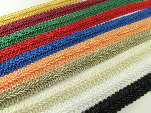 1/2 Inch or 13mm Flat Scroll Romanesque Braided Gimp Trim in 18 Colors - Odyssey Cache