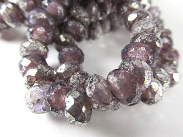 Lavender Mercury Czech Glass 9x6mm Faceted Rondelle 4mm Large Hole Roller Beads (10)-Jewelry Beads-Odyssey Cache