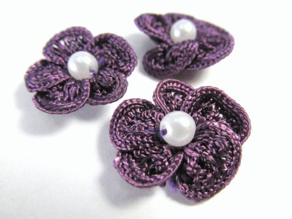 Crochet Flower Appliques with White Pearl Centers (3) in Purple, Mauve or Coral-Appliques-Purple-Odyssey Cache